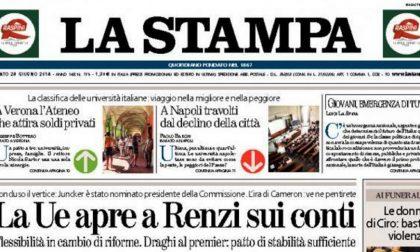 Le prime pagine di oggi sabato 28 giugno 2014