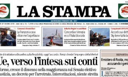 Le prime pagine di oggi venerdì 27 giugno 2014