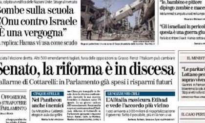 Le prime pagine di oggi giovedì 31 luglio 2014