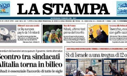 Le prime pagine di oggi sabato 26 luglio 2014