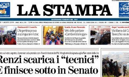 Le prime pagine di oggi venerdì 1 agosto 2014