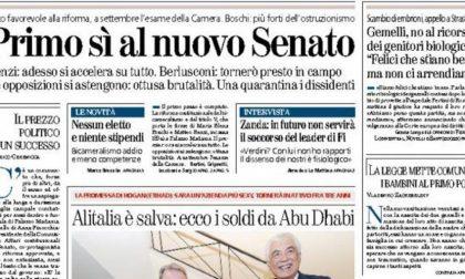 Le prime pagine di oggi sabato 9 agosto 2014