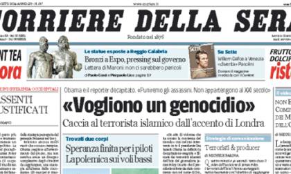 Le prime pagine di oggi giovedì 21 agosto 2014
