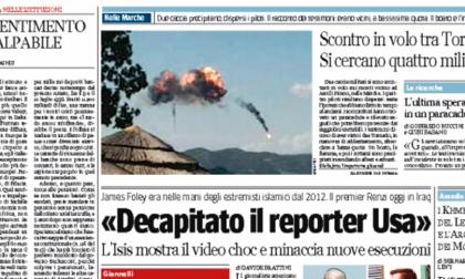 Le prime pagine di oggi mercoledì 20 agosto 2014