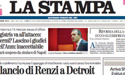 Le prime pagine di oggi sabato 27 settembre 2014