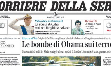 Le prime pagine di oggi mercoledì 24 settembre 2014