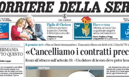 Le prime pagine di oggi lunedì 29 settembre 2014