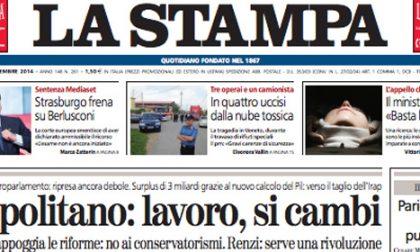 Le prime pagine di oggi martedì 23 settembre 2014