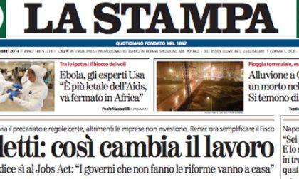 Le prime pagine di oggi venerdì 10 ottobre 2014