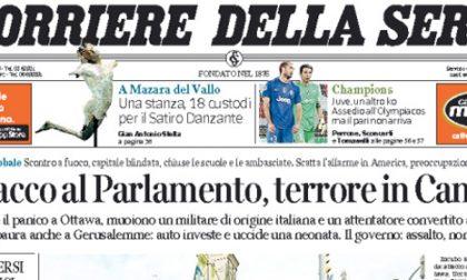 Le prime pagine di oggi giovedì 23 ottobre 2014