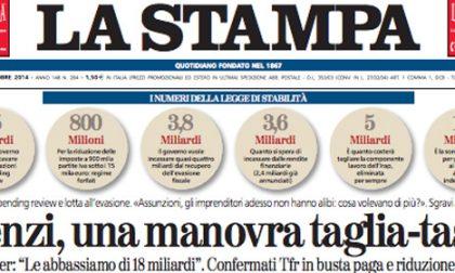 Le prime pagine di oggi giovedì 16 ottobre 2014