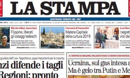 Le prime pagine di oggi sabato 18 ottobre 2014