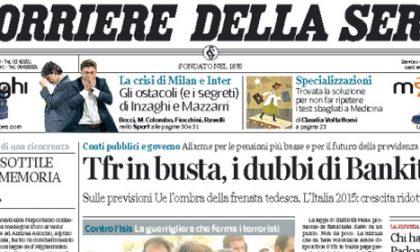 Le prime pagine di oggi martedì 4 novembre 2014