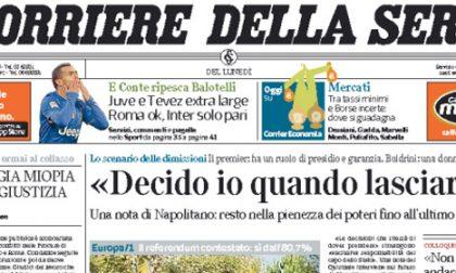 Le prime pagine di oggi lunedì 10 novembre 2014