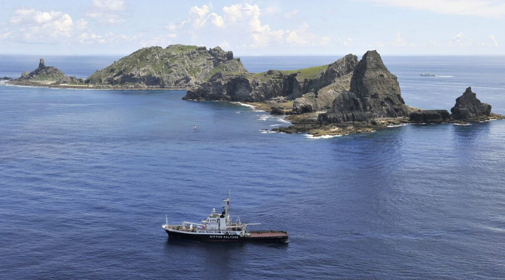 The city government of Tokyo's survey vessel sails around a group of disputed islands known as Senkaku in Japan and Diaoyu in China in the East China Sea in this picture taken by Kyodo