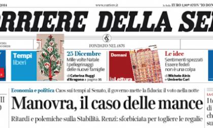 Le prime pagine di oggi sabato 20 dicembre 2014