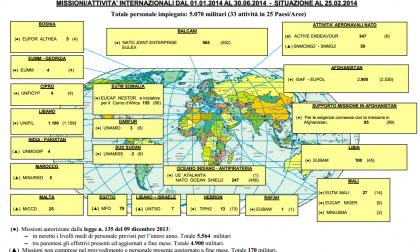 La mappa dei soldati italiani impegnati in tutto il mondo