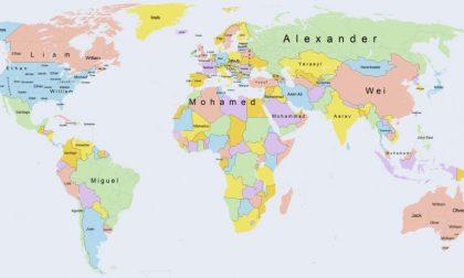 Cartina Geografica Mondo Con Nomi.I Nomi Piu Diffusi Del Mondo In Una Coloratissima Mappa
