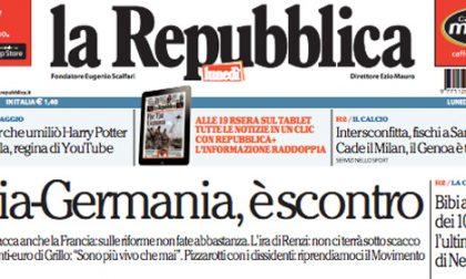 Le prime pagine di oggi lunedì 8 dicembre 2014
