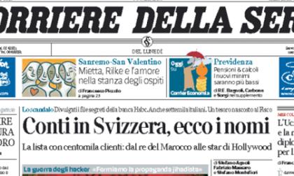 Le prime pagine di oggi lunedì 9 febbraio 2015