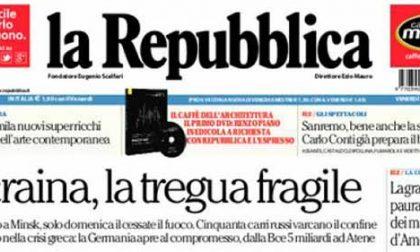 Le prime pagine di oggi venerdì 13 febbraio 2015