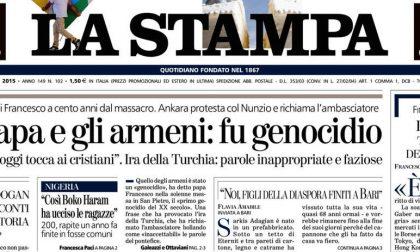 Le prime pagine di oggi lunedì 13 aprile 2015