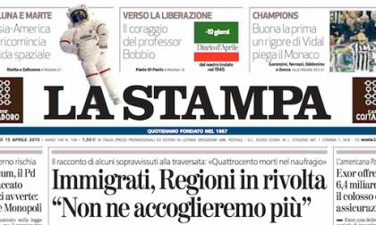 Le prime pagine di oggi mercoledì 15 aprile 2015