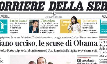 Le prime pagine di oggi venerdì 24 aprile 2015