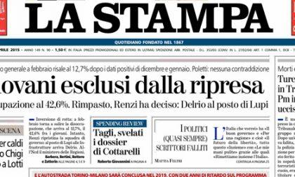 Le prime pagine di oggi mercoledì 1 aprile 2015
