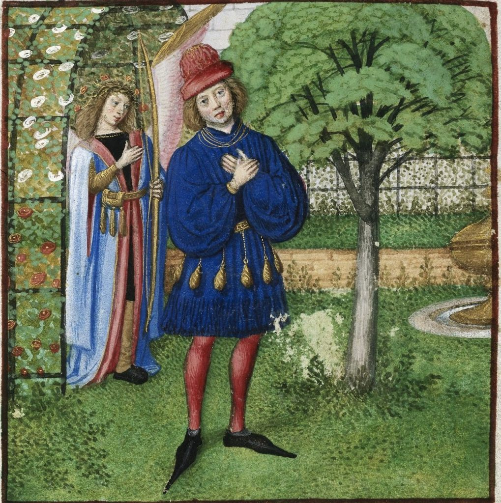 c 1487-95 Artist Unknown British Library, London, Harley 4425   f. 42   Amour and the Lover - Copy