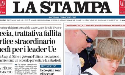 Le prime pagine dei giornali venerdì 19 giugno 2015