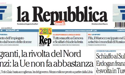 Le prime pagine dei giornali lunedì 8 giugno 2015