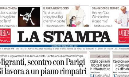 Le prime pagine dei giornali lunedì 15 giugno 2015