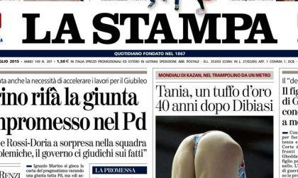 Le prime pagine dei giornali mercoledì 29 luglio 2015