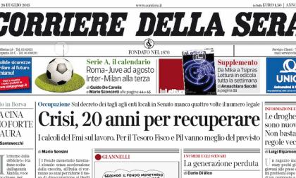 Le prime pagine dei giornali martedì 28 luglio 2015