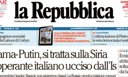 Le prime pagine dei giornali martedì 29 settembre 2015