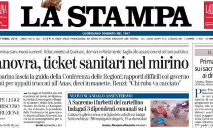 Le prime pagine dei giornali venerdì 23 ottobre 2015