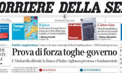 Le prime pagine dei giornali sabato 24 ottobre 2015