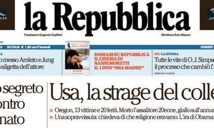 Le prime pagine dei giornali venerdì 2 ottobre 2015