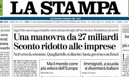 Le prime pagine dei giornali giovedì 15 ottobre 2015