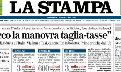 Le prime pagine dei giornali venerdì 16 ottobre 2015