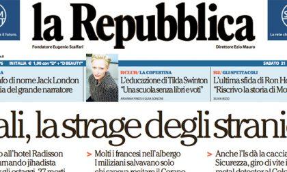 Le prime pagine dei giornali sabato 21 novembre 2015