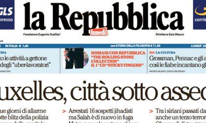 Le prime pagine dei giornali lunedì 23 novembre 2015