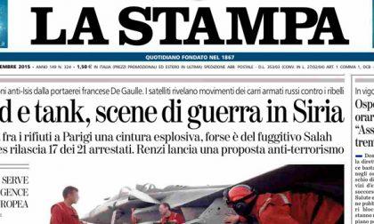 Le prime pagine dei giornali martedì 24 novembre 2015