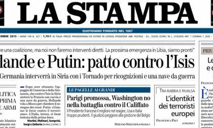 Le prime pagine dei giornali venerdì 27 novembre 2015