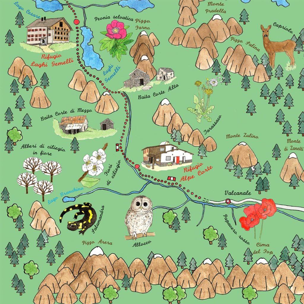 Susanna Alberti - Mappa Illustrata del sentiero delle Orobie
