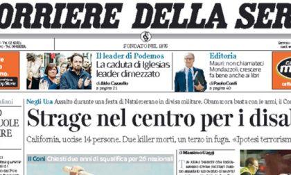 Le prime pagine dei giornali giovedì 3 dicembre 2015