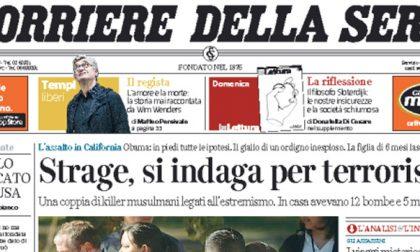 Le prime pagine dei giornali venerdì 4 dicembre 2015