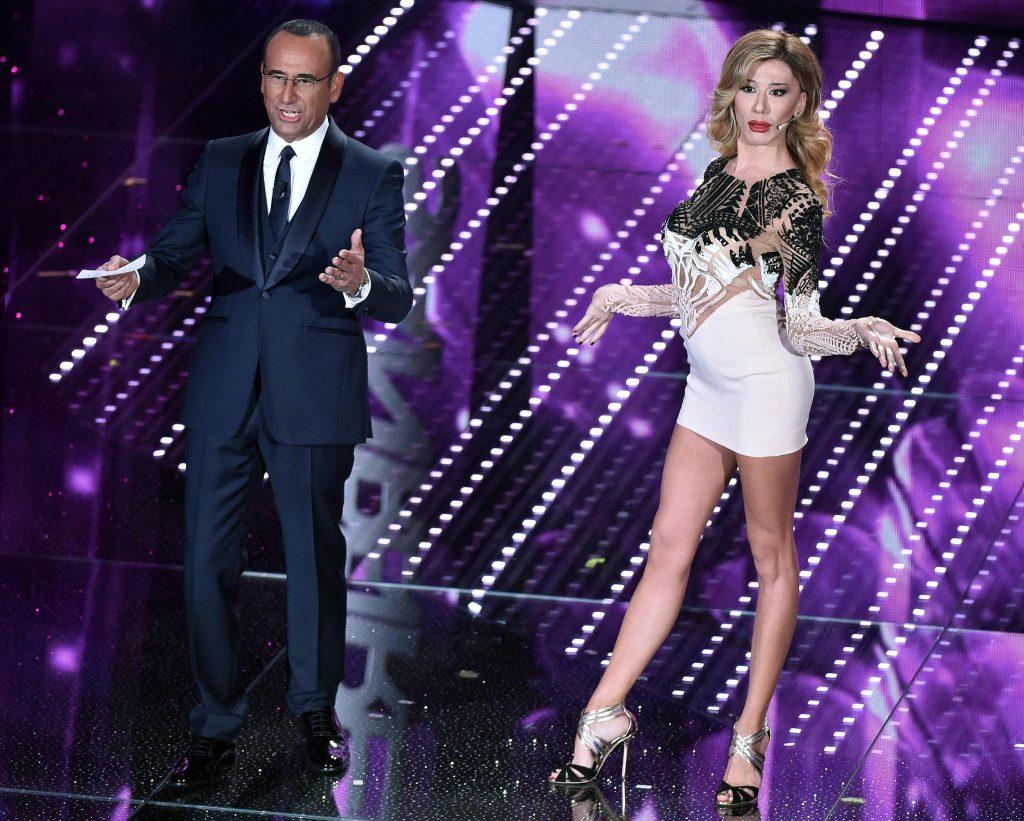 Sanremo: Virginia-Belen, abito da suora poi mini vertiginosa