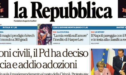 Le prime pagine dei giornali martedì 23 febbraio 2016